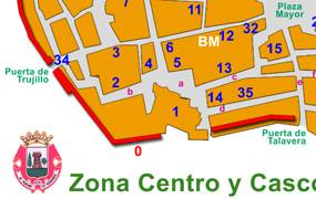 Plano zona centro for Oficina de turismo de plasencia